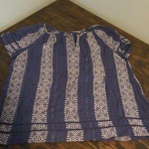 Lucky Brand aztec shimmer shirt 2x